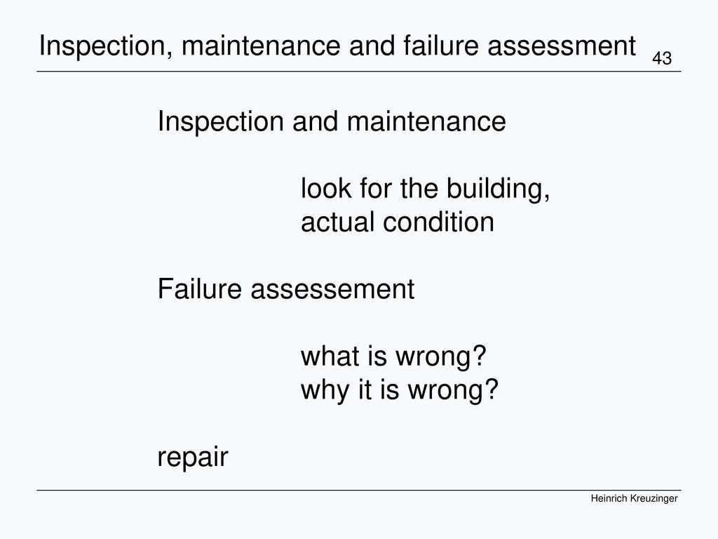 Inspection, maintenance and failure assessment