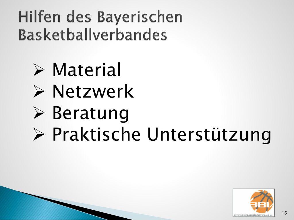 Hilfen des Bayerischen Basketballverbandes