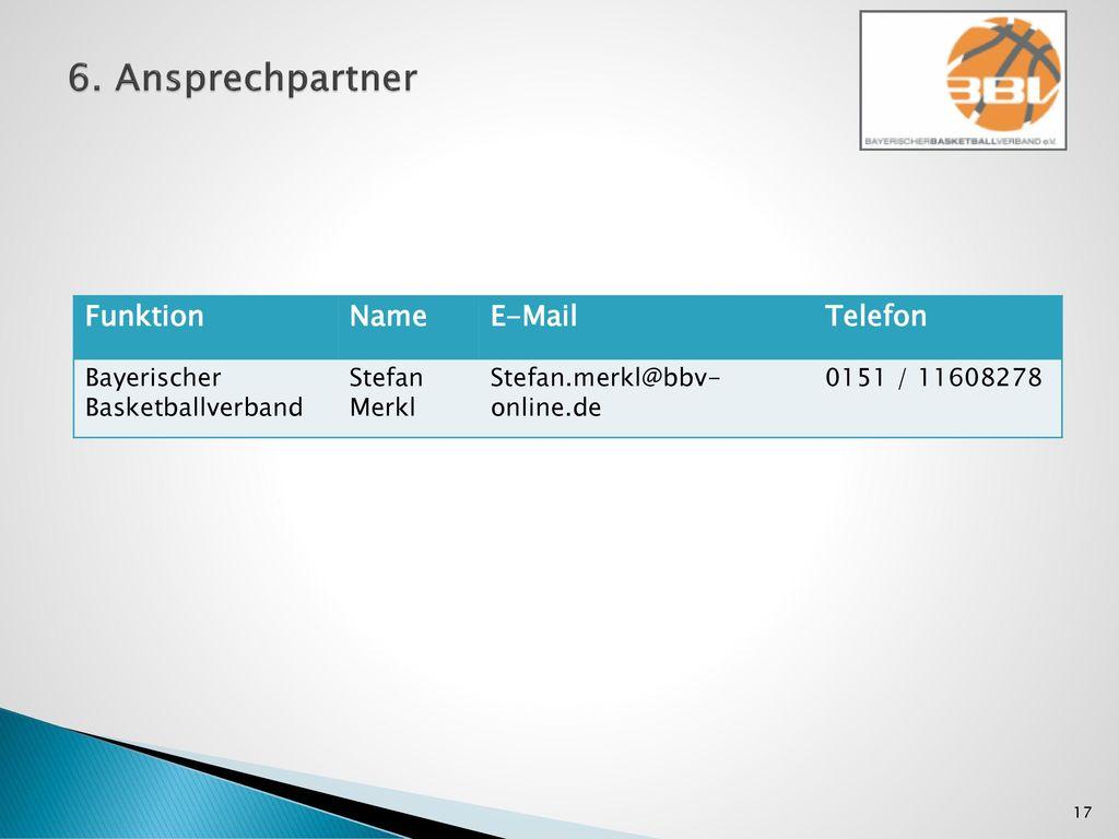 6. Ansprechpartner Funktion Name E-Mail Telefon