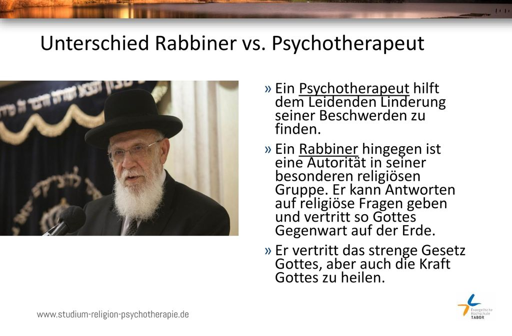 Unterschied Rabbiner vs. Psychotherapeut