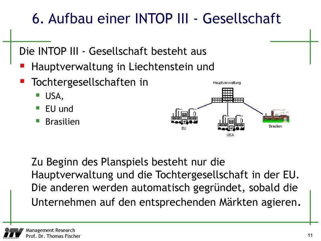 6. Aufbau einer INTOP III - Gesellschaft