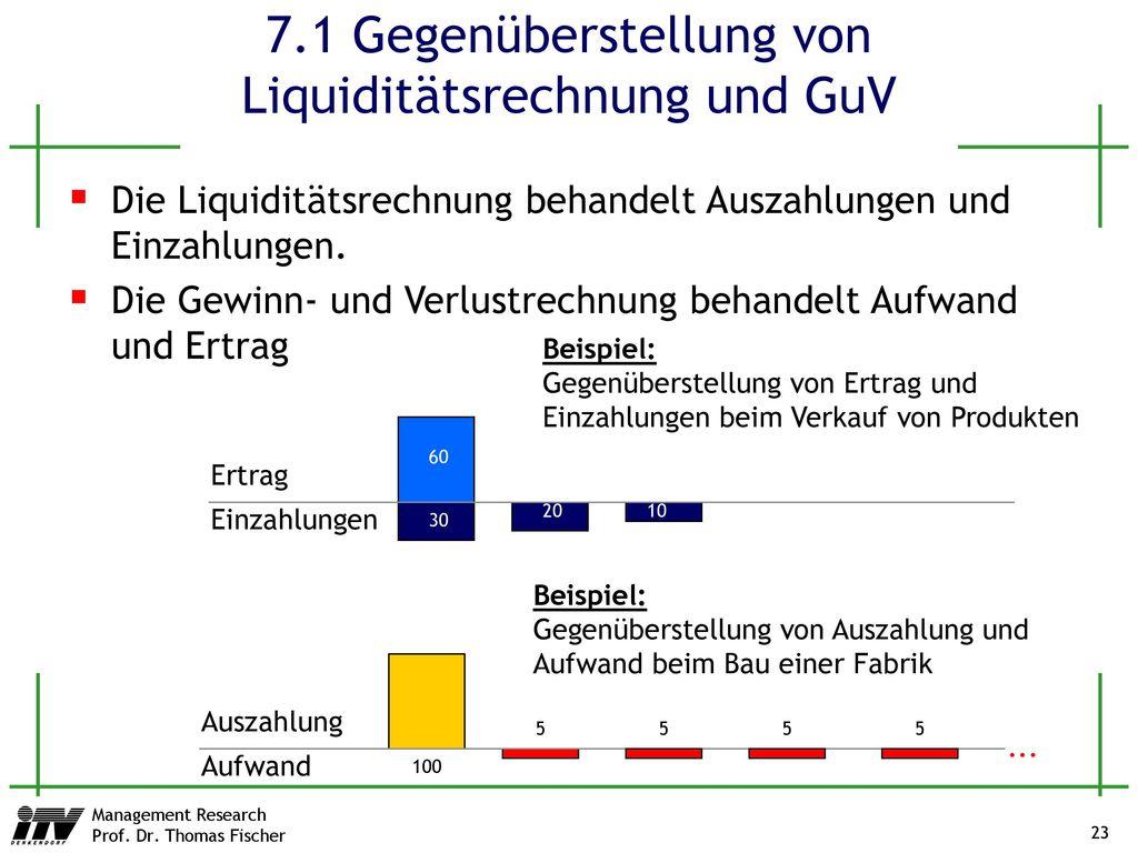 7.1 Gegenüberstellung von Liquiditätsrechnung und GuV