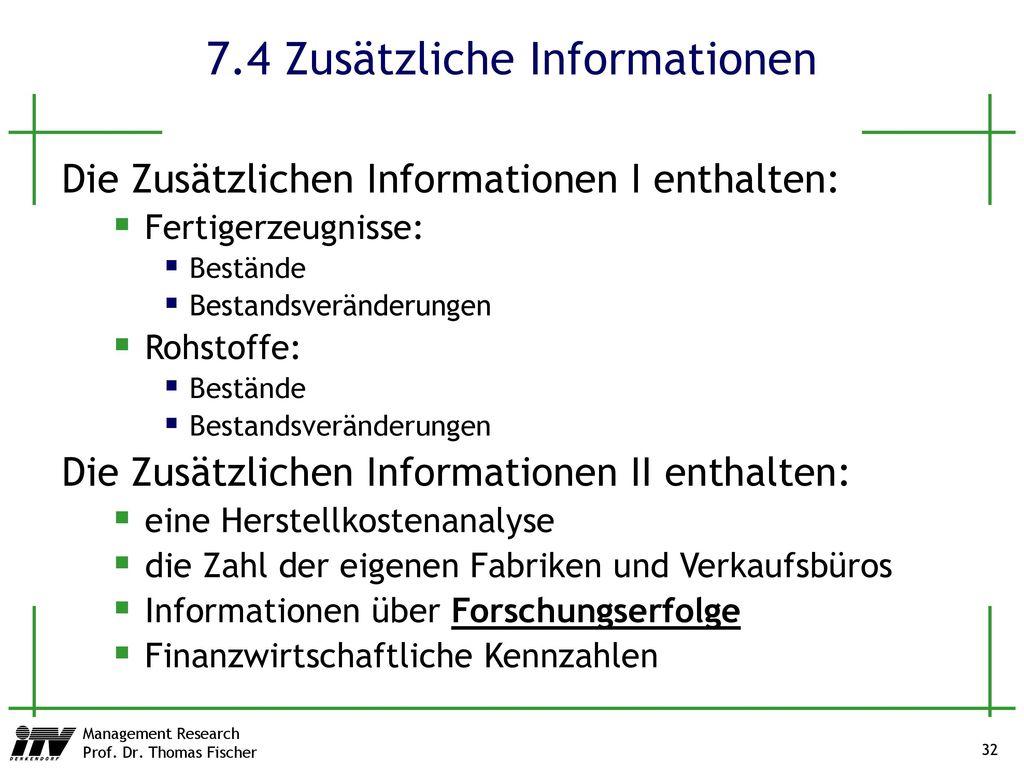 7.4 Zusätzliche Informationen