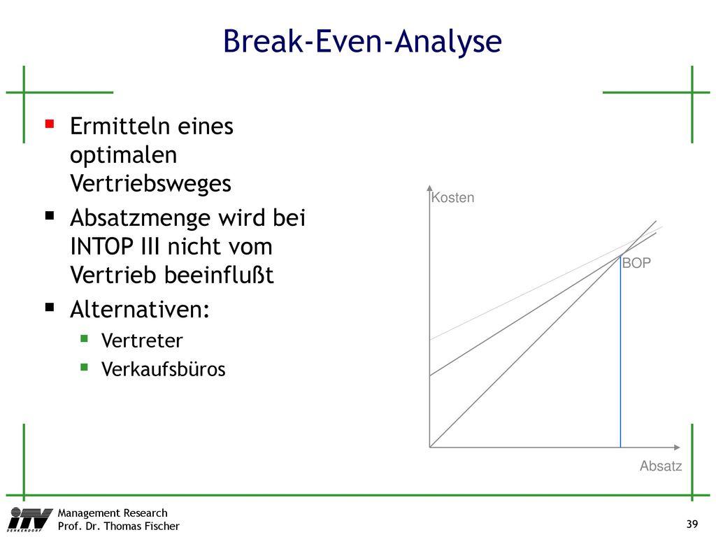 Break-Even-Analyse Ermitteln eines optimalen Vertriebsweges