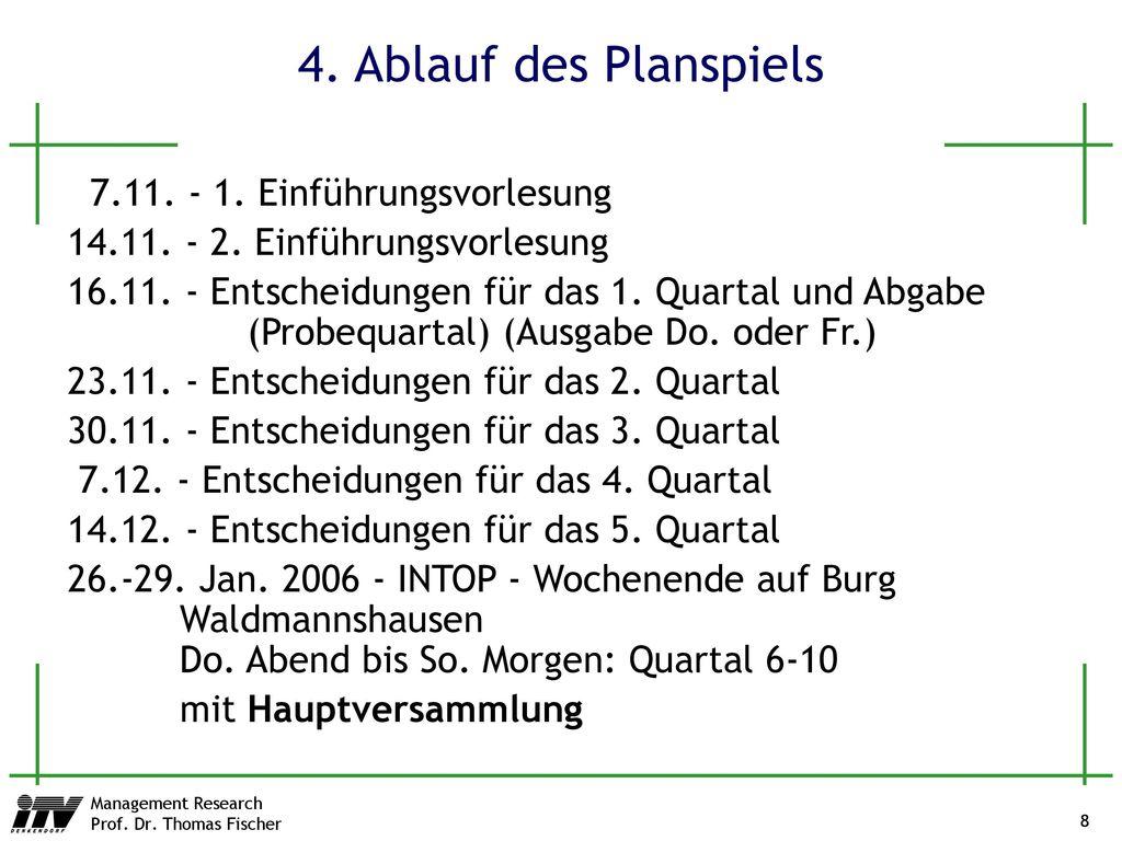 4. Ablauf des Planspiels 7.11. - 1. Einführungsvorlesung