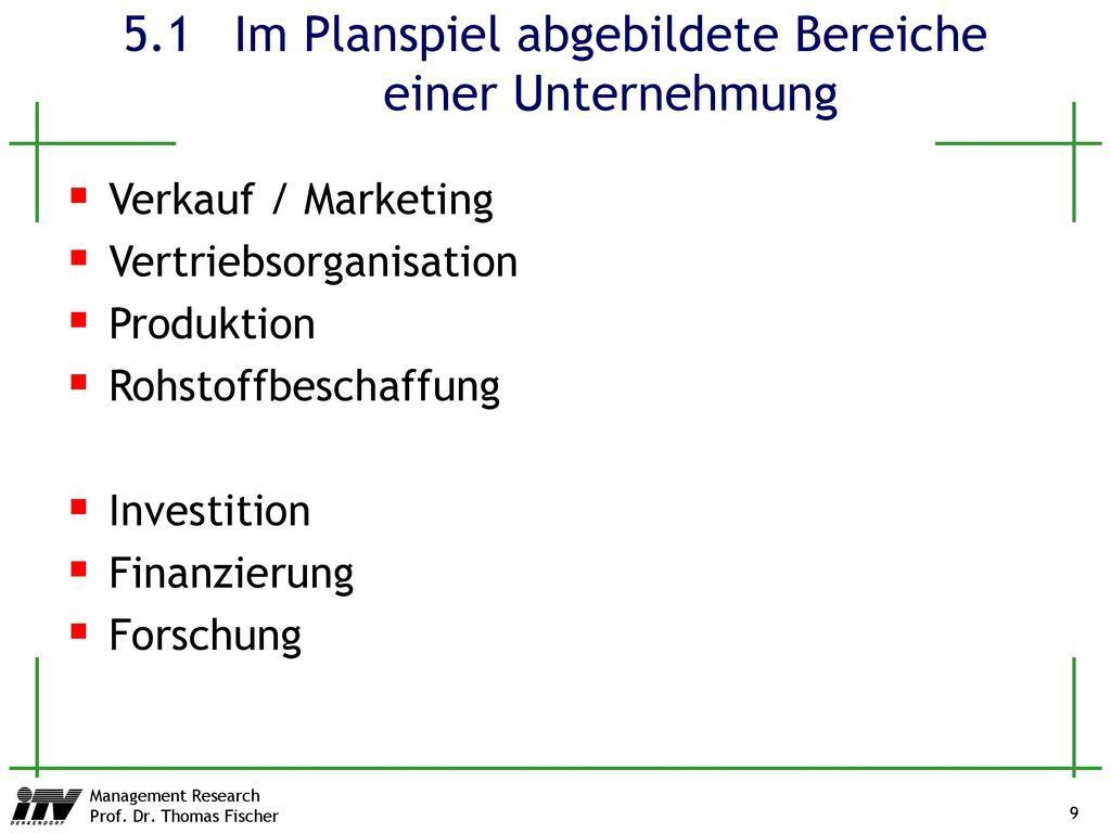 5.1 Im Planspiel abgebildete Bereiche einer Unternehmung