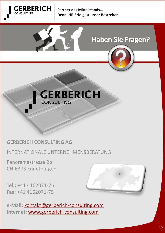 Haben Sie Fragen GERBERICH CONSULTING AG