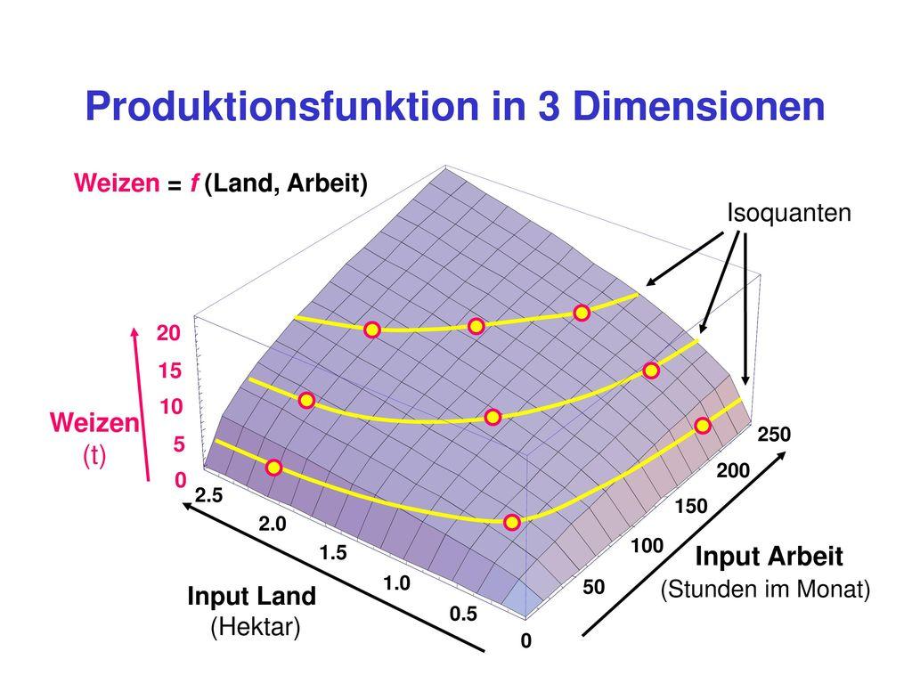 Produktionsfunktion in 3 Dimensionen Weizen = f (Land, Arbeit)