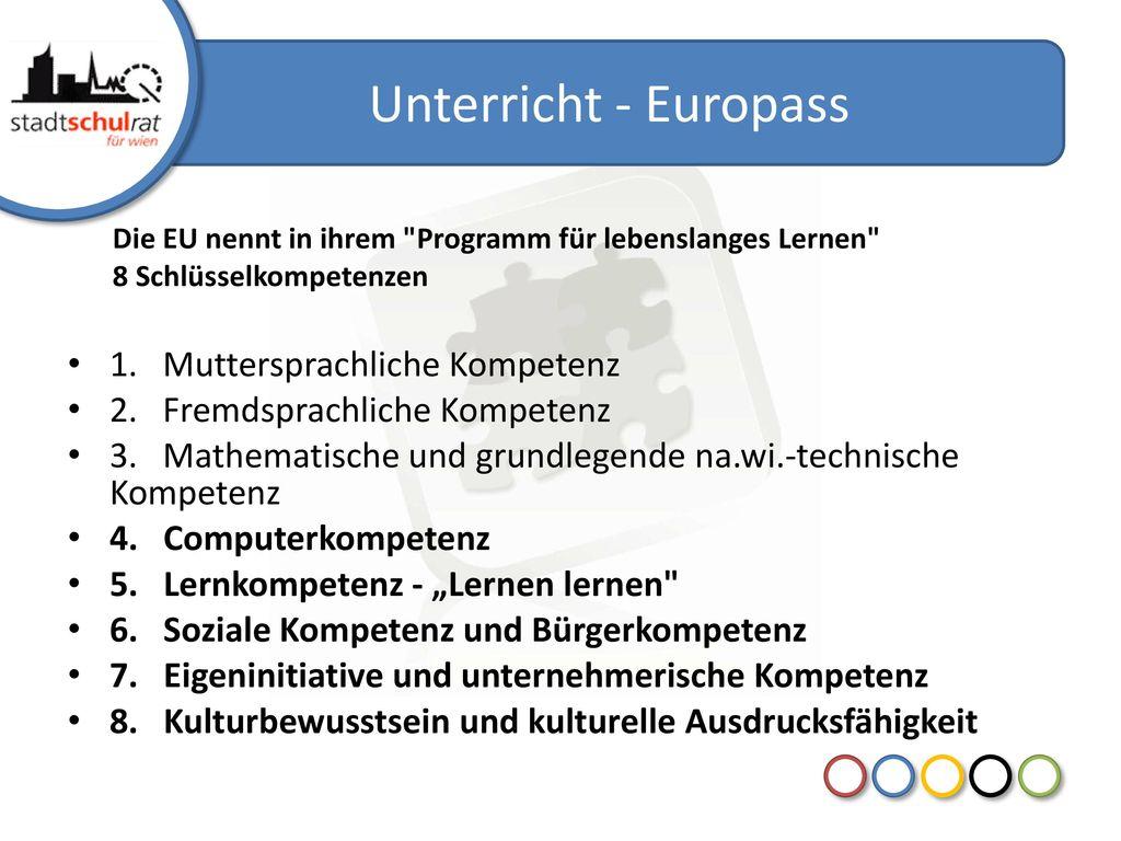 Unterricht - Europass 1. Muttersprachliche Kompetenz
