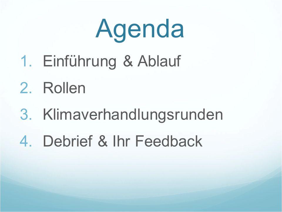 Agenda Einführung & Ablauf Rollen Klimaverhandlungsrunden