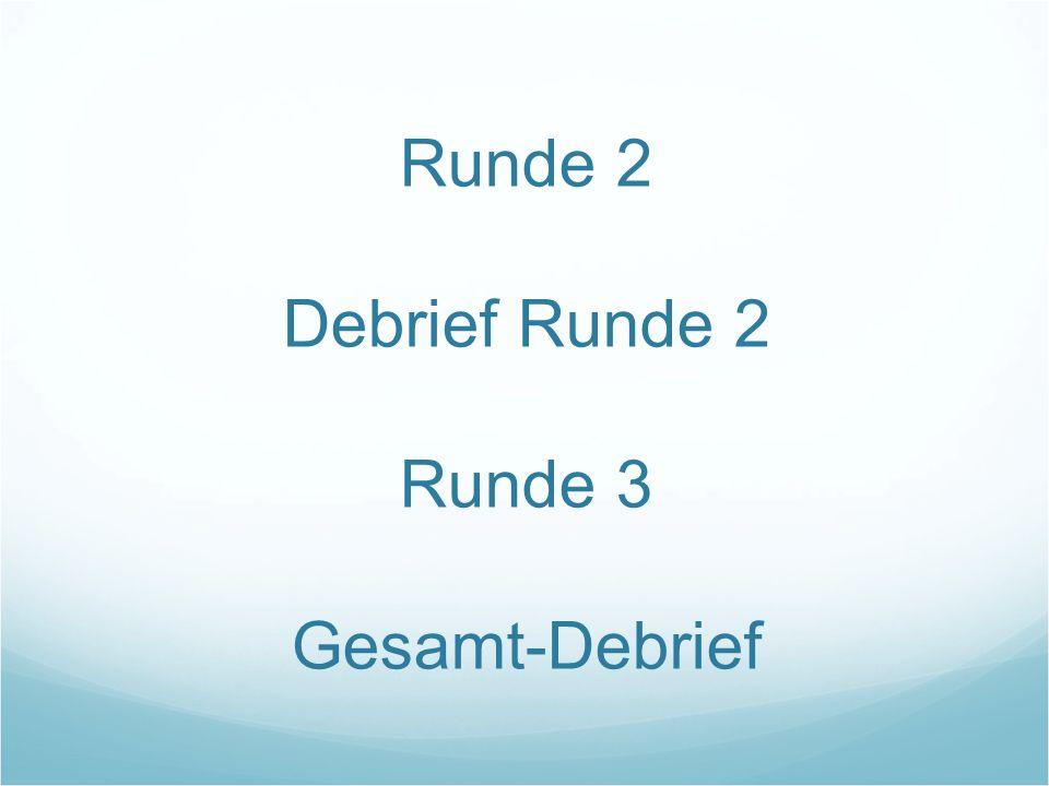 Runde 2 Debrief Runde 2 Runde 3 Gesamt-Debrief