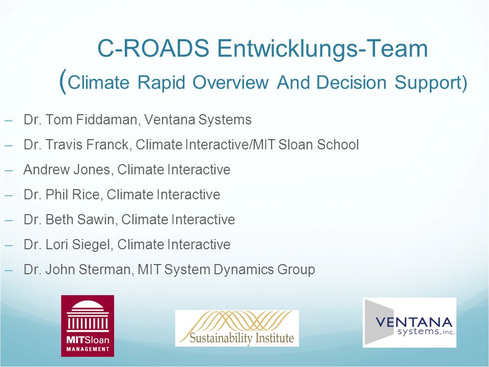 C-ROADS Entwicklungs-Team (Climate Rapid Overview And Decision Support)