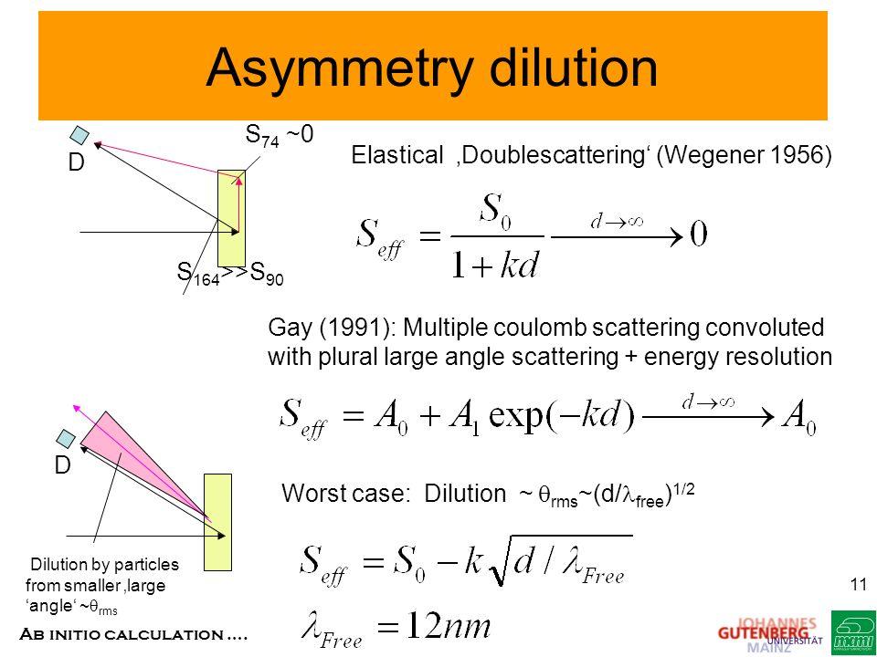 Asymmetry dilution S74 ~0 Elastical 'Doublescattering' (Wegener 1956)