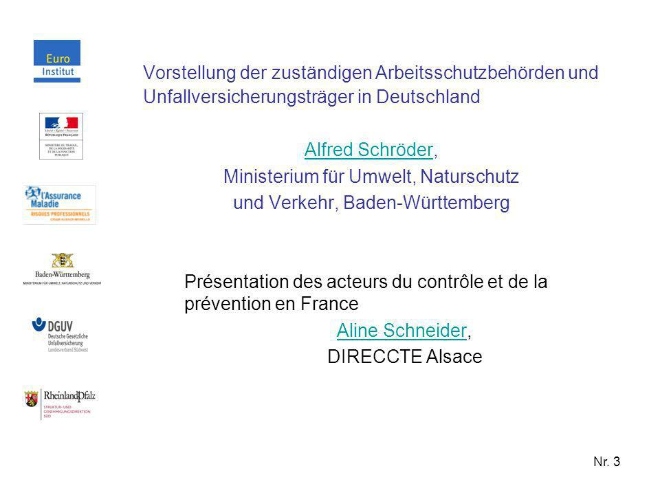 Vorstellung der zuständigen Arbeitsschutzbehörden und Unfallversicherungsträger in Deutschland
