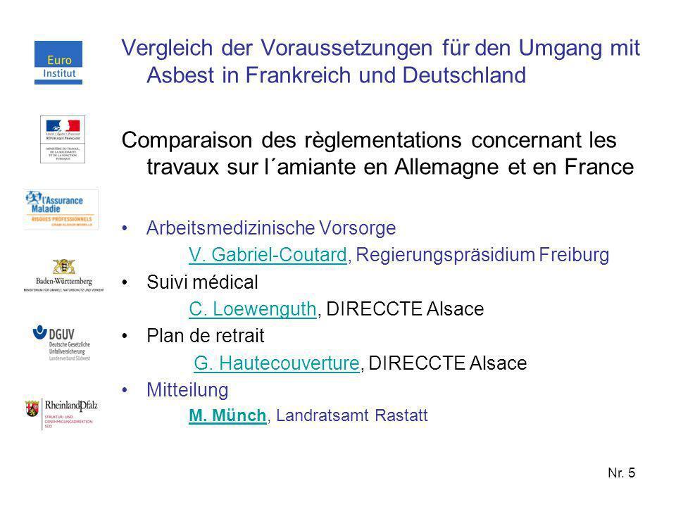 Vergleich der Voraussetzungen für den Umgang mit Asbest in Frankreich und Deutschland