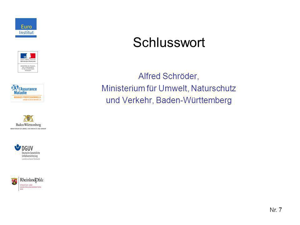 Schlusswort Alfred Schröder, Ministerium für Umwelt, Naturschutz