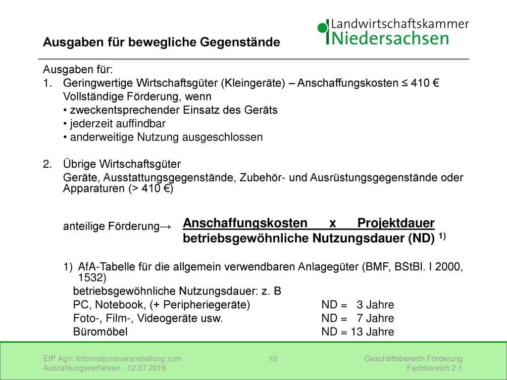 Informationsveranstaltung zum auszahlungsverfahren ppt - Amtliche afa tabelle 2016 ...
