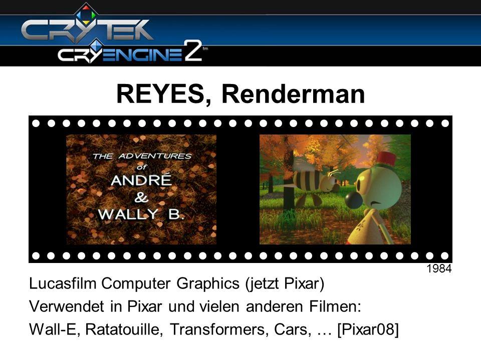 REYES, Renderman Lucasfilm Computer Graphics (jetzt Pixar)
