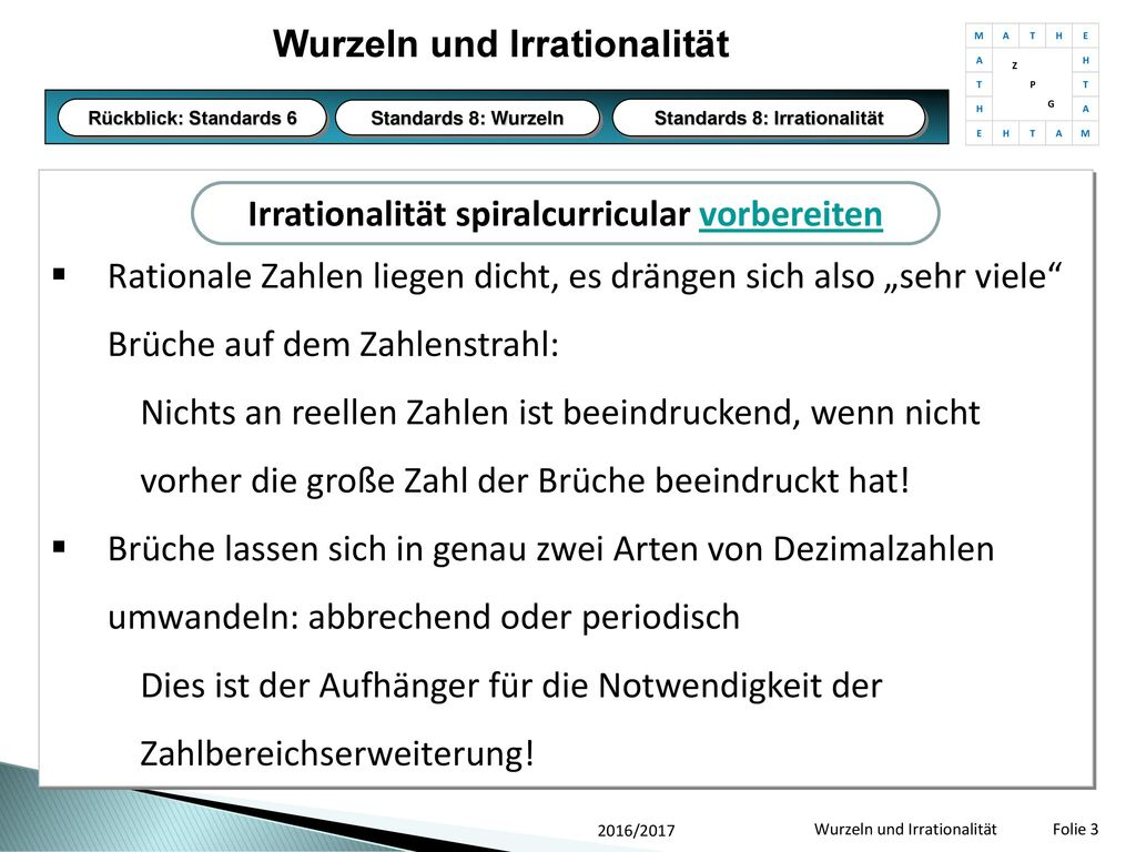 Wurzeln und Irrationalität nach U.Wagner, OHG Tuttlingen - ppt ...