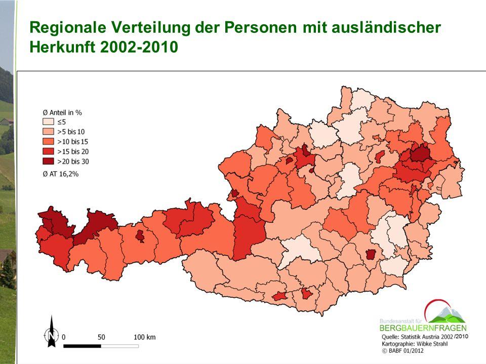 Regionale Verteilung der Personen mit ausländischer Herkunft 2002-2010