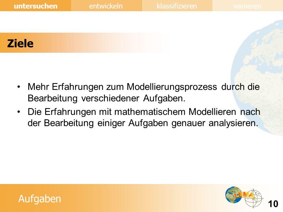 Ziele Mehr Erfahrungen zum Modellierungsprozess durch die Bearbeitung verschiedener Aufgaben.