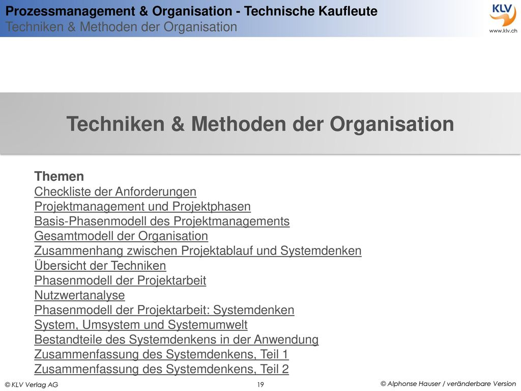 Techniken & Methoden der Organisation