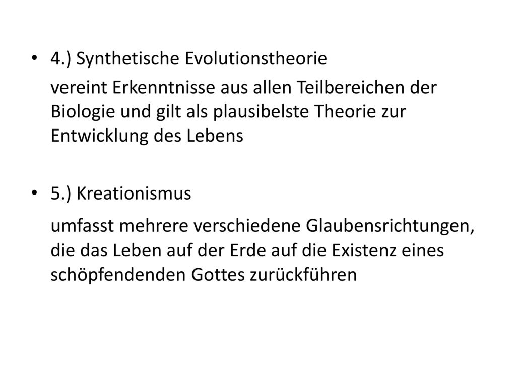 4.) Synthetische Evolutionstheorie