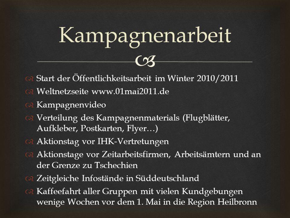 Kampagnenarbeit Start der Öffentlichkeitsarbeit im Winter 2010/2011