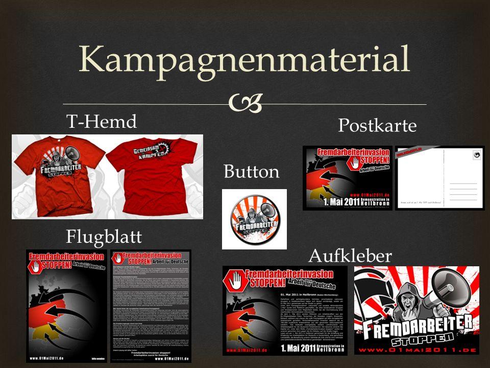 Kampagnenmaterial T-Hemd Postkarte Button Flugblatt Aufkleber