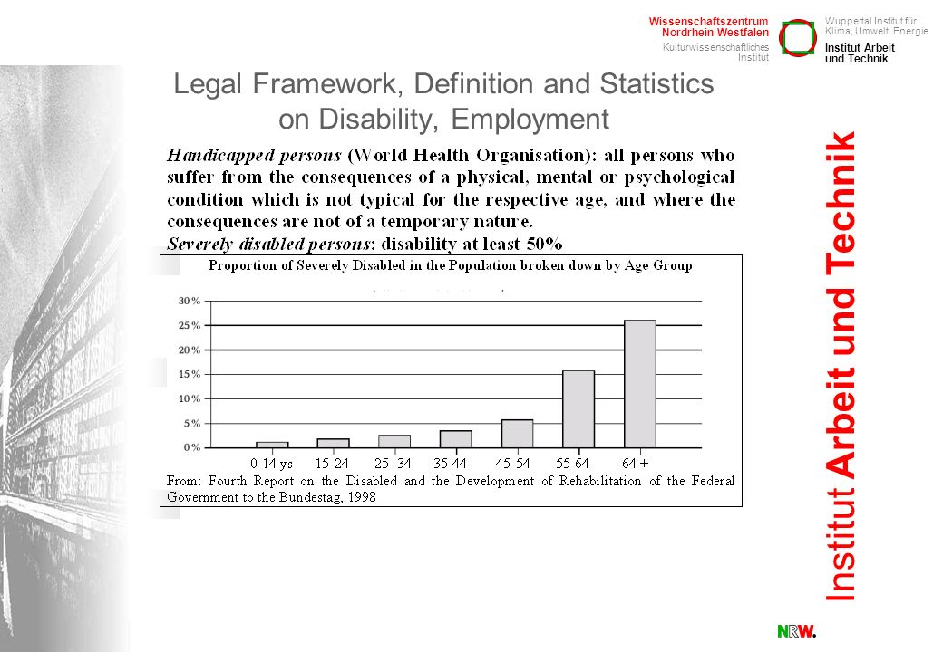 Legal Framework, Definition and Statistics on Disability, Employment