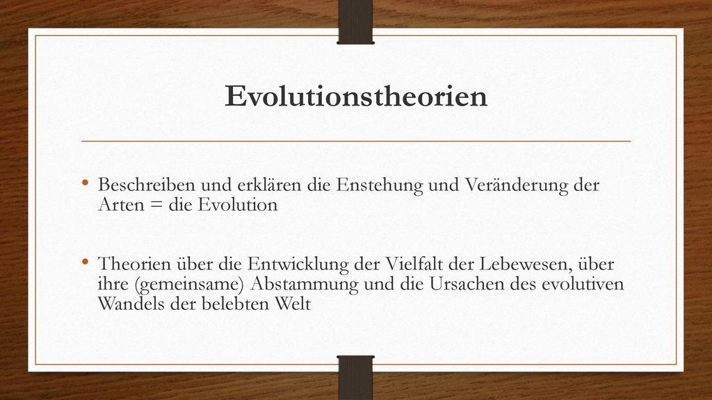 theorien zur entstehung der arten