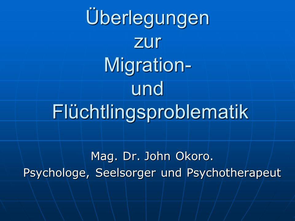 Überlegungen zur Migration- und Flüchtlingsproblematik