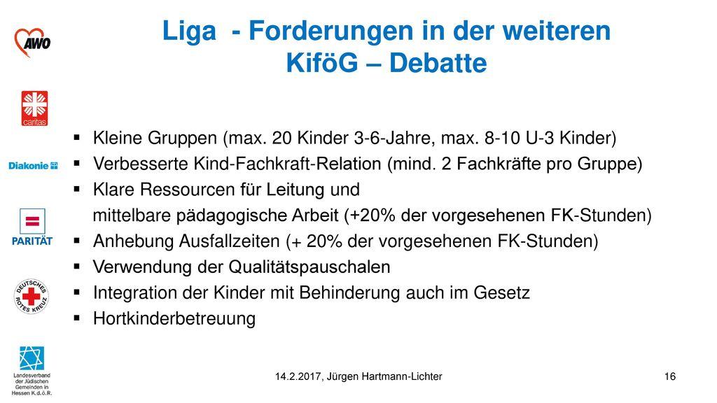 Liga - Forderungen in der weiteren KiföG – Debatte