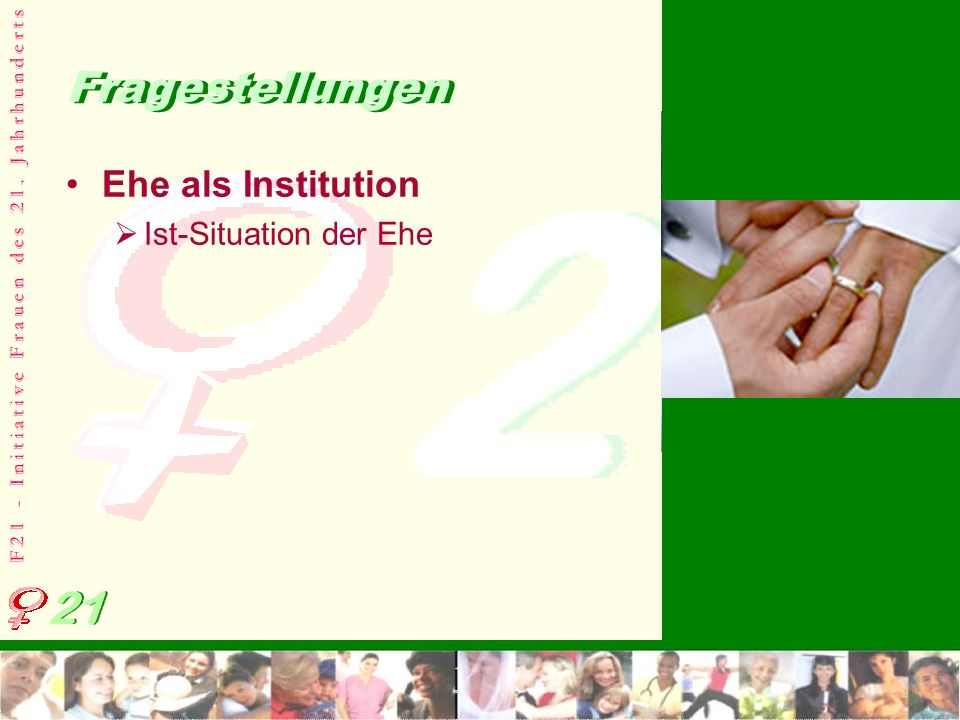 Fragestellungen Ehe als Institution Ist-Situation der Ehe