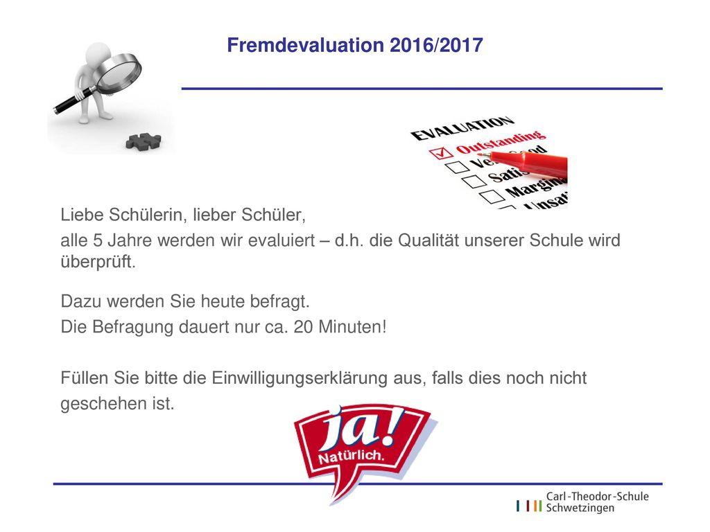 Onlinebefragung der Schülerinnen und Schüler Fremdevaluation ppt ...