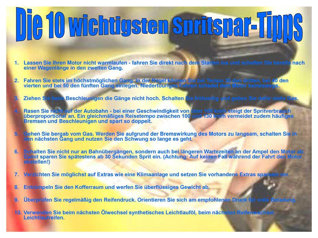 Die 10 wichtigsten Spritspar-Tipps - ppt herunterladen