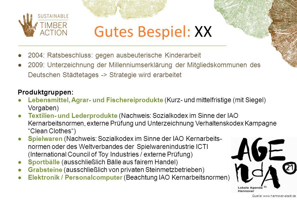 Gutes Bespiel: XX 2004: Ratsbeschluss: gegen ausbeuterische Kinderarbeit.