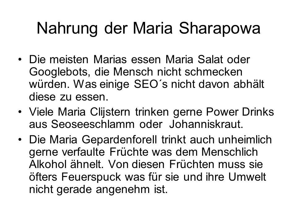 Nahrung der Maria Sharapowa