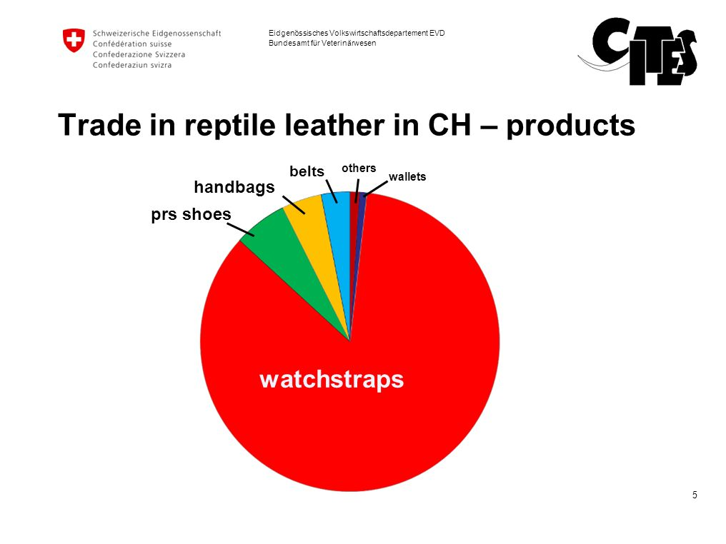 Trade in reptile leather in CH – products