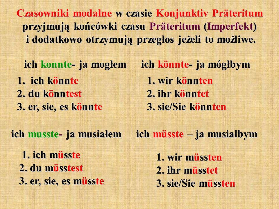 Czasowniki modalne w czasie Konjunktiv Präteritum przyjmują końcówki czasu Präteritum (Imperfekt) i dodatkowo otrzymują przegłos jeżeli to możliwe.
