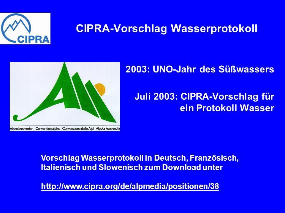CIPRA-Vorschlag Wasserprotokoll