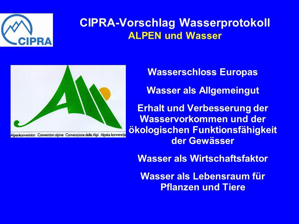 CIPRA-Vorschlag Wasserprotokoll ALPEN und Wasser