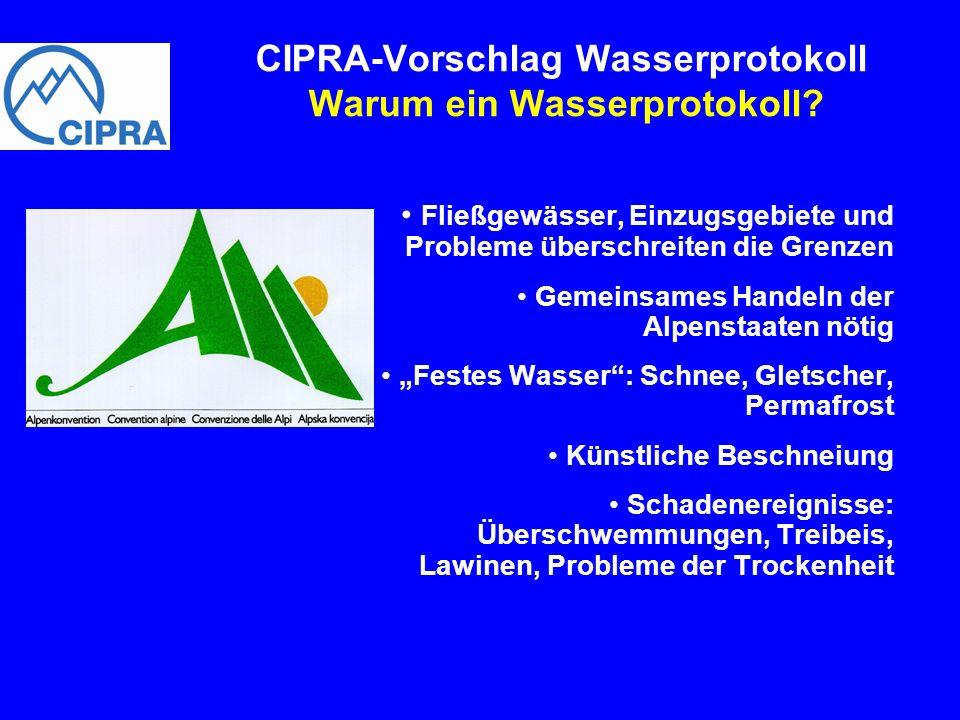 CIPRA-Vorschlag Wasserprotokoll Warum ein Wasserprotokoll