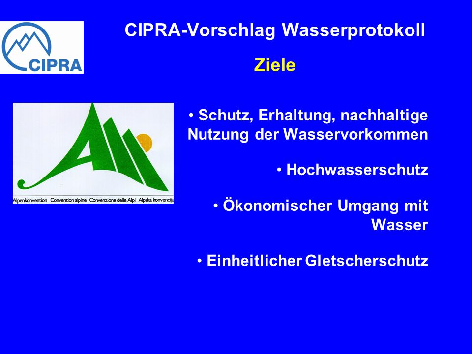 CIPRA-Vorschlag Wasserprotokoll Ziele
