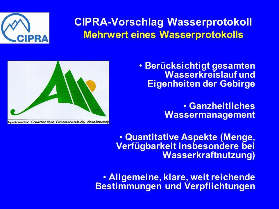 CIPRA-Vorschlag Wasserprotokoll Mehrwert eines Wasserprotokolls