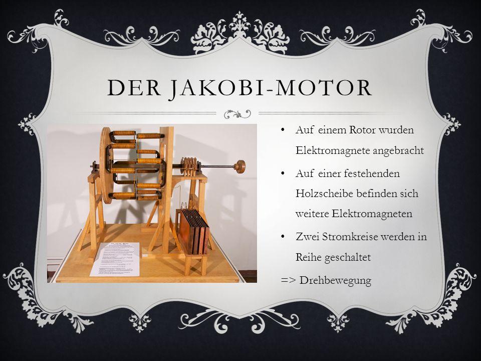 Der Jakobi-motor Auf einem Rotor wurden Elektromagnete angebracht