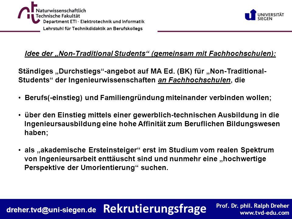 """Idee der """"Non-Traditional Students (gemeinsam mit Fachhochschulen):"""