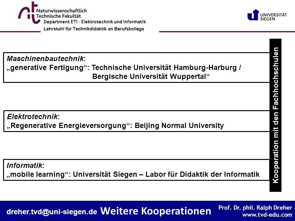 Kooperation mit den Fachhochschulen Weitere Kooperationen