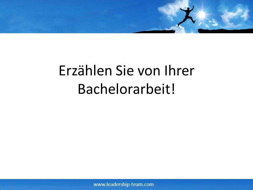 Erzählen Sie von Ihrer Bachelorarbeit!