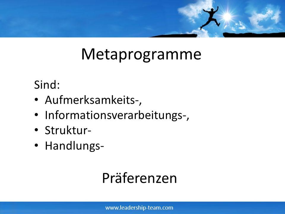 Metaprogramme Präferenzen Sind: Aufmerksamkeits-,